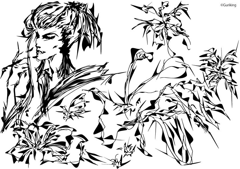 画像:元絵をAdobe Illustratorで装飾 白黒の線のみで表現
